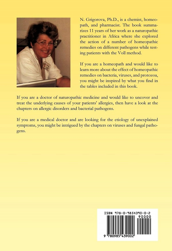 Electro Acupuncture by Voll (EAV) and Homeopathy book's back cover
