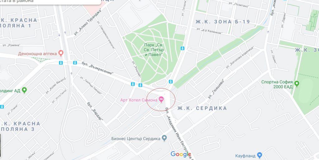 Карта на местоположението на арт хотел Симона