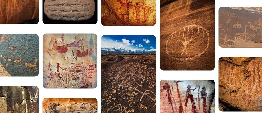 Скални рисунки в пещери от различни времена и региони.