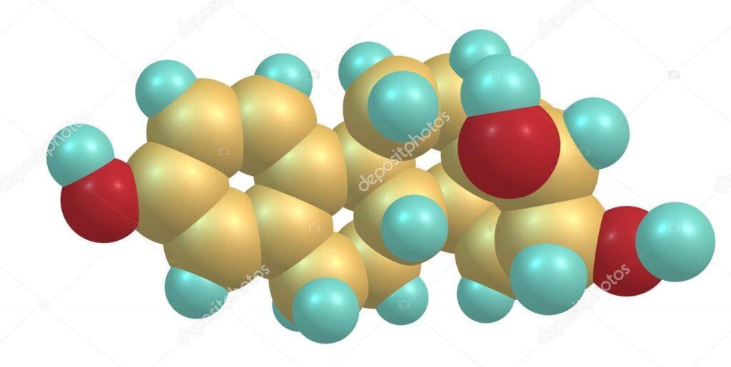 Естриол или Е3, също изписван оестриол, е стероид, слаб естроген и незначителен женски полови хормон. 3D илюстрация
